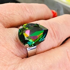 Chrysolite Electra Crystal ring 18x13mm
